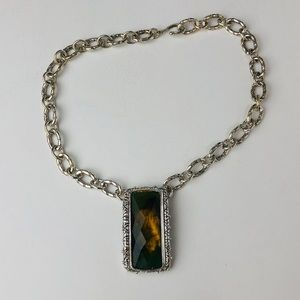 Jewelry - Vintage Silver Necklace with Emerald Stone Center